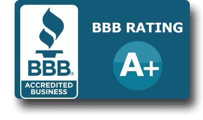 Logo for the Better Business Bureau - shows an A+ rating and a link to reviews
